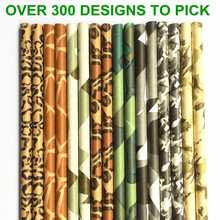 Free DHL Shipping 2000 pcs Pick Colors Paper Straws-Colored Animal Print Camo Patterned Party Paper Drinking Straws Birthday