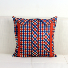 Free shipping Christmas gift novelty red blue checked plaid Pattern cushion cover home car boat decorative throw pillow case