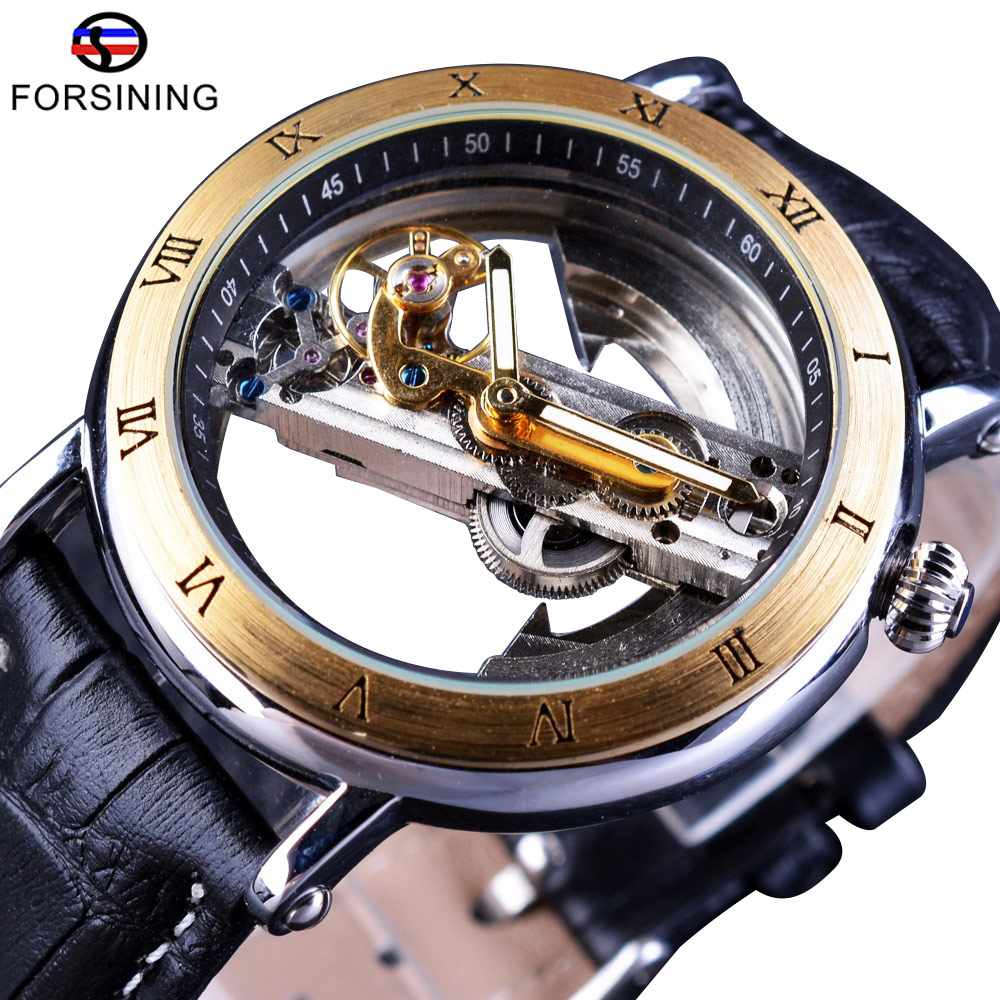 Jaragar Retro Minimalist Transparent Automatic Movement Waterproof Genuine Belt Fashion Mechanical Mens Watches Top Brand Luxury<br>
