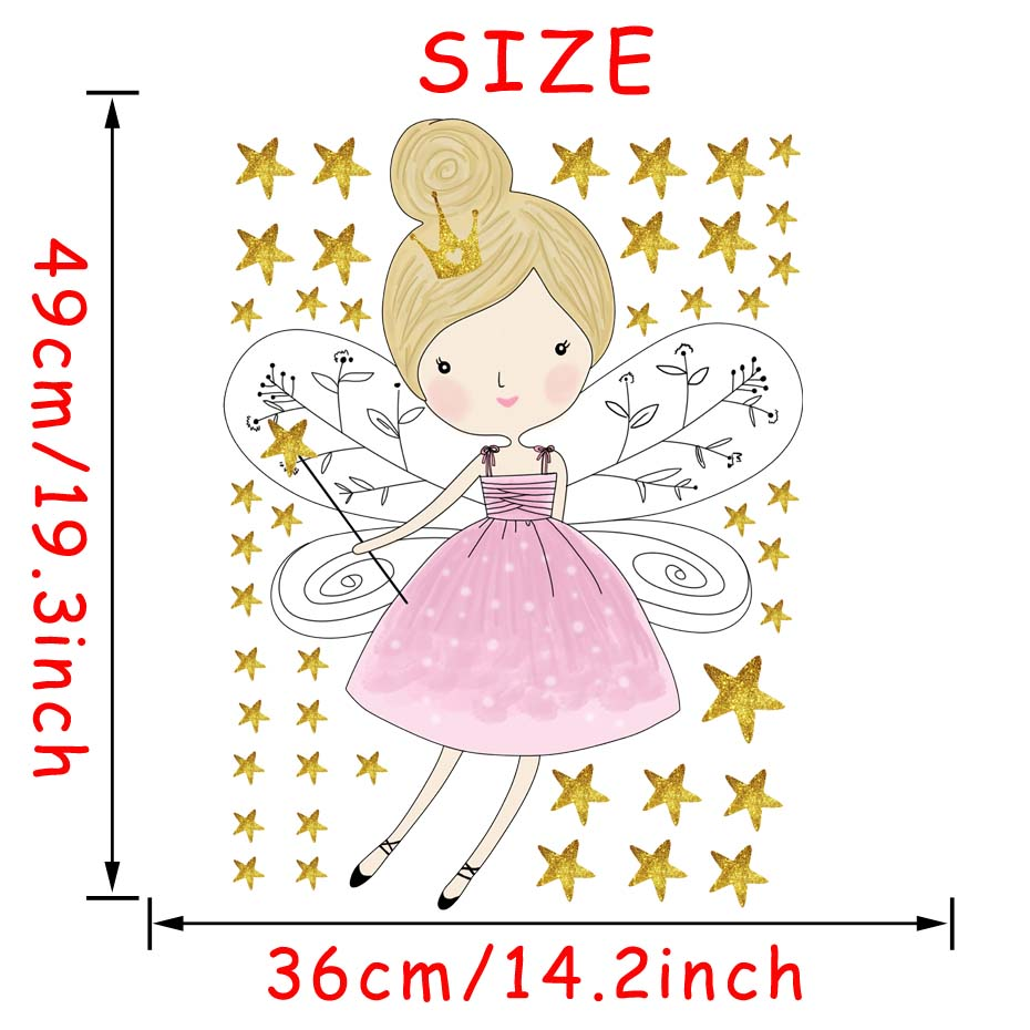 HTB1enxGllTH8KJjy0Fiq6ARsXXaq - 44pcs Stars Cartoon Fairy Girl Wall Sticker For Kid Room