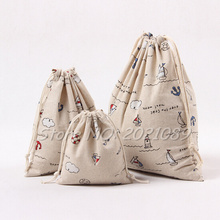 New Brand Vintage Handmade Draw String Bags Christmas Gift Travel Cotton Linen Storage Bag Student Book Pouch Hot