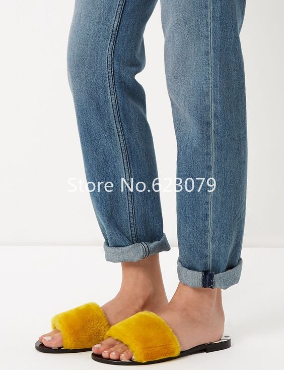 2017 fashion fur and shearling slides yellow blue open toe flat slides womens casual cozy shearling shoes<br><br>Aliexpress