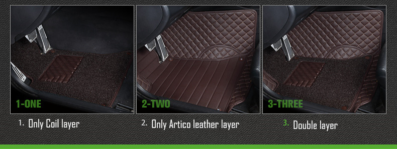 double layer coil leather car floor mats 4