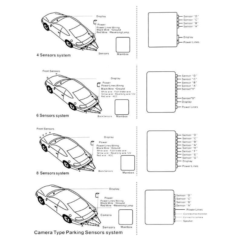 White ePathChina LED Display Car Reverse Backup Radar with 4 Parking Sensors Car Parking Radar Monitor Detector System Back Light Display