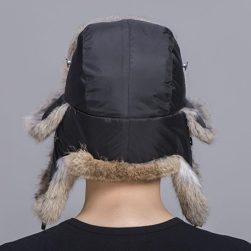 rabbit fur trapper hat tan black 1