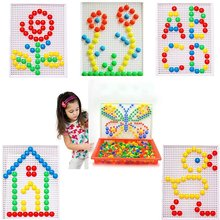 296 grains of mushroom boxed nail bead intelligent 3D puzzle game for children children's educational toys plastic baby 296pcs c