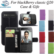 (OUZIFISH)Luxury Style Wallet Stand Leather Cover for blackBerry classic Q20 Mobile Phone Case Pouch with Card Holders Slot