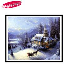 Megayouput 5D diy Diamond Painting cross stitch Diamond Embroidery landscape christmas deer Snow House Scenery Home Decoration(China)