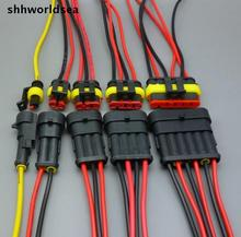 shhworldsea 30 sets Car Auto 1 2 3 4  5 6 P Pin Way auto connector HID socket with cable Sealed Waterproof Wire Connector