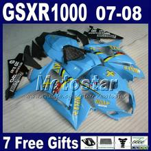 Custom Full set SUZUKI GSXR 1000 07 08 k7 K7 K8 fairings 2007 2008 blue black ABS fairing body kits Hg95+ Seat co - ZXMOTOR Motorparts Store store