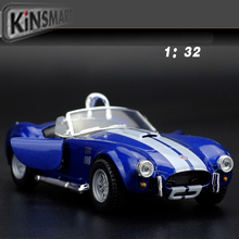 New KiNSMART Classic 1/32 Scale Vintage Ford 1965 Shelby Cobra 427 S/C Cool Diecast Metal Pull Back Car Model Toy For Gift/Kids