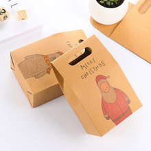 12pcs Kraft Paper Candy Box Christmas Gift Packaging Handbag Zakka Craft Bakery Cookies Biscuits Package Bags Xmas Party Favors(China)