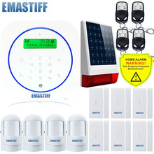 Free shipping.Ultra thin Android Smart Home Alarm System Touch Panel Gsm Alarm System Wireless Outdoor Solar Powered Flash Siren