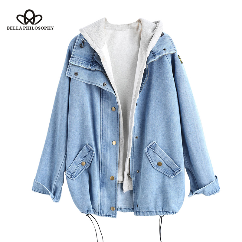 Wonder 2018 new fashion Autumn Button Up Ladies Denim Jacket with Hooded 2 Piece 3XL Female Jean Plus Size Women Coat tops