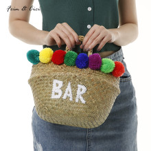 beach bag straw totes bag bucket summer bags women pom pom basket handbag braided 2017 new arrivals(China)