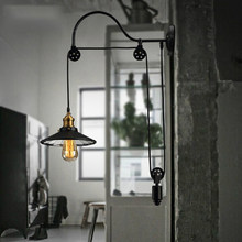 Loft Style Antique Telescopic Lift Edison Wall Sconce Glass Mirror Wall Lamp Vintage Wall Light Fixtures For Home Lighting(China)
