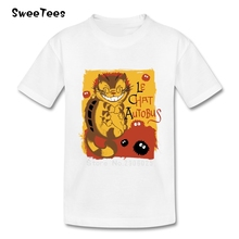 Le Chat Autobus children's T Shirt Pure Cotton Short Sleeve Crew Neck Tshirt Tees Boys Girls 2017 Best Selling T-shirt For Baby
