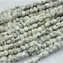 "Natural Genuine Howlite Lace White Turquoise Small Nugget Free Form Fillet Irregular Pebble Beads Fit Jewelry 15"" 03973(China)"