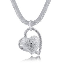 Buyinbest Free shipping Popular silver plated jewelry fashion charm Mesh chain hanging crooked heart pretty Lady necklace N270