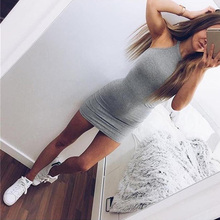 New Fashion Sexy Women Basic Dresses Sleeveless Slim Vestidos Bodycon Clothing High Neck Solid Color For Party Dress #85291(China)