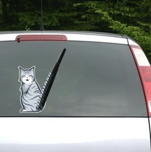 Funny Car Decals Moving Cat Tail Wiper Stickers Rear Windshield Decoration For Ford Focus Kia Vw Golf 7 Skoda Peugeot(China)