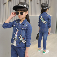 Spring period sequins dragonfly denim jacket jeans children girl clothing fashion nail bead leisure set kids Sports Suit clothes