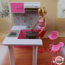 2017 New Dream kitchen furniture set for barbie doll  Toys for girls  Doll accessories for Monster high