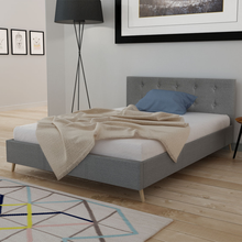 iKayaa modern design bed artificial leather solid high quality wood bedroom home furniture Grey ES Stock 200 x 140 cm