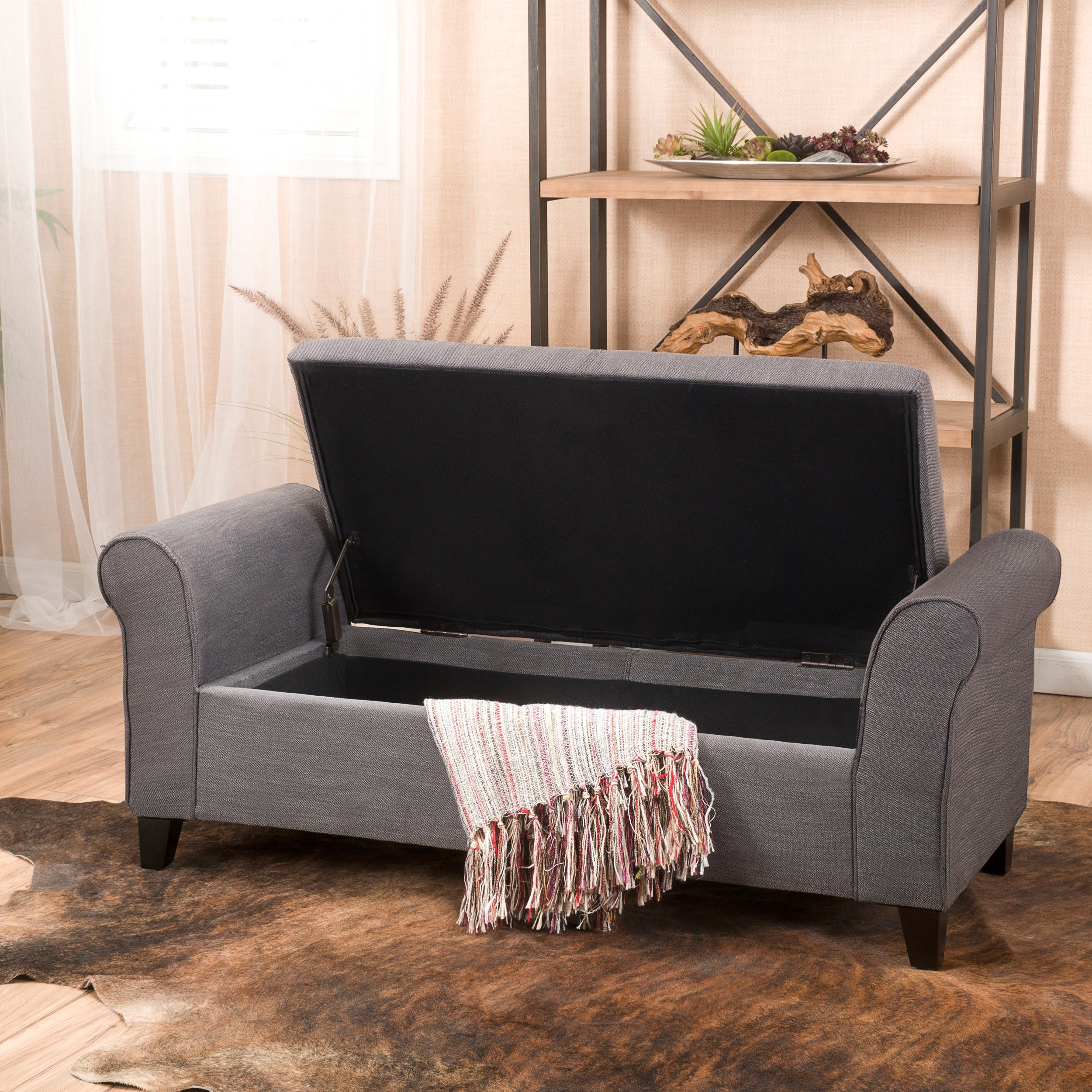 Danbury Grey Fabric Armed Storage Ottoman Bench