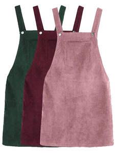 Corduroy Dress Suspender Pocket Loose Retro Female Vintage Winter Women Casual Sleeveless