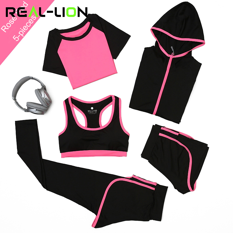 RealLion 5pcs/set Women Yoga Sets Running Sports Bra Shorts Shirt Coat Set Fitness Gym Push Up Seamless Bras Tops Elastic Pants<br>