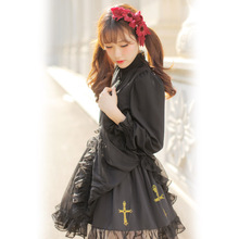 Dolly Delly Japanese Harakuku Gothic Style Cross Pattern Printed Chiffon Ruffled Black Tutu Skirt for Girl Free Shipping(China)