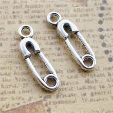 BULK 30pcs Zinc Alloy Metal Safety Pin Charms Antique Silver Plated Baby Shower Diaper Pin Pendant DIY Jewelry 19*6mm 0.6g
