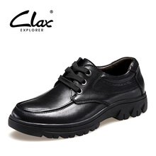 CLAX Men Wedding Shoes 2017 Autumn Retro Vintage Black Leather Dresses Male Formal Business Footwear Social Shoe Brown Oxford(China)