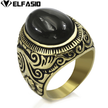 Mens Womens Stainless Steel Gold Ring Natural Oval Black Onyx Turquoise gem Fashion Jewelry Size 8 to 15