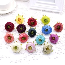 new 5pcs/lot 4CM Cheap Artificial Mini Rose Flowers Head Diy Wedding Room Wedding Car Decoration Simulation Flower Ball(China)