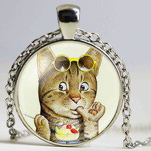 Silver Plated Small Cat On A Diet Glass Cabochon Necklace For Women Wholesale Statement Long Necklace New Arrival(China)