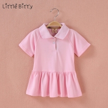 Little Bitty Baby Girl Summer Tennis Dress Solid Color Girls Sports Short Sleeve Dresses Kids Polo Pleated Dress clothing