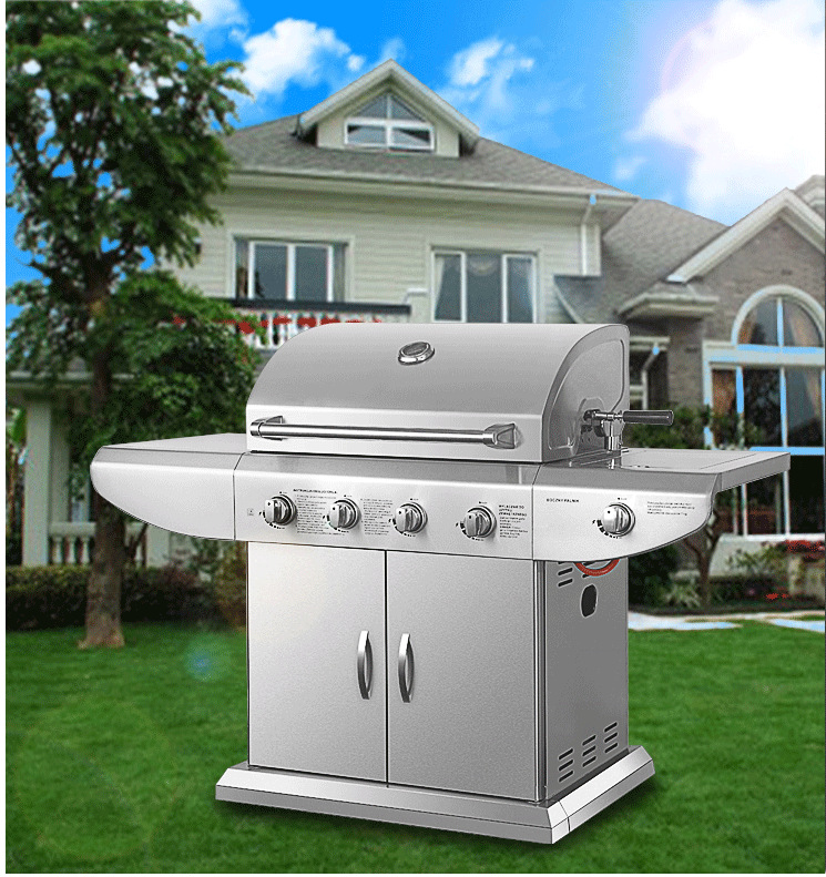 Super Germany quality standard lava-rock stainless steel gas bbq grill machine dual-use outdoor bbq stove natural&propane gas(China)