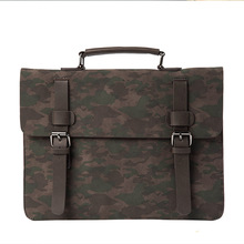 2017 Fashion Retro PU Camouflage Handbag Business Briefcase Men's Work Bag Document Data Package A4 File Pocket Messenger Bag