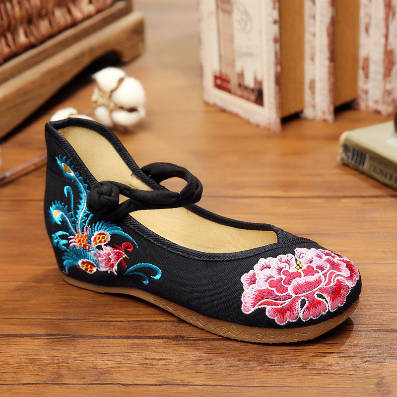 New 3.5cm height-increasing shoe wedge heels fashion rosefinch and flowers embroidered women pumps shoes casual mary jane shoes<br><br>Aliexpress