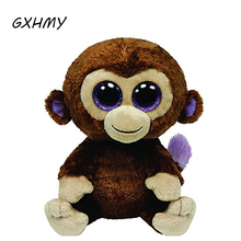 GXHMY Original Ty Beanie Boos Big Eyes Plush Toy Doll Monkey Baby Kids Gift 15cm Stuffed Animals & Plush