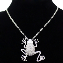 Fairytale Silver Critter Big Frog Prince Pendant Iced Out Crystal Statement Costume Chain Necklace Jewelry