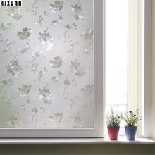 No glue static window Privacy film 50x100cm 3d cam flower printing pvc decor window stickers sunscreen paper Hsxuan brand 500208(China)