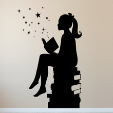 DCTOP Girl Reading Book Wall Decals Babys Bedroom Wall Decor Vinyl Removable Wall Stickers Nursery Decoration