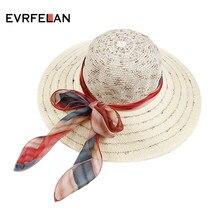 248850611a717 Evrfelan Chapéus de Verão para As Mulheres Mulheres de Design de Moda Praia  Chapéu de Sol Dobrável Chapéu de Palha de Abas Larga.