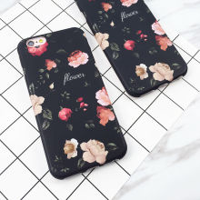 Classical Retro Flowers Black Soft IMD Phone Back Cover Case For iPhone 7 For iPhone 6 6S 7 Plus Mobile Phone Bags & Cases Capa