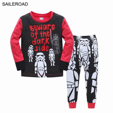 STAR WARS Children's Cartoon Suit Superman Children Kids Baby Pajamas Sets Cotton Baby Girls Boys Clothing 2 To 7T SAILEROAD(China)