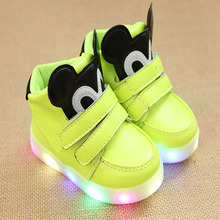 2018 European fashion funny design shoes girls boys boots LED light toddler first walkers Cute casual kids shoes free shipping(China)
