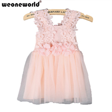 WEONEWORLD Girls Dresses Summer 2017 evening Girl easter dress Lace Princess Baby  Dresses Kids Flower Sleeveless Children Party